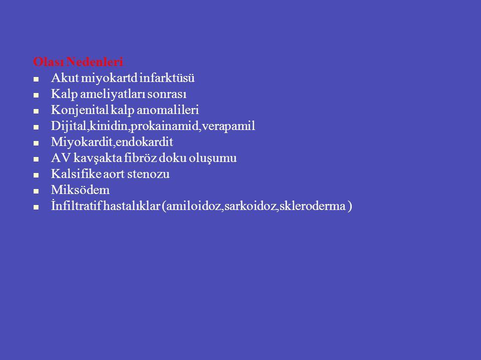 Olası Nedenleri Akut miyokartd infarktüsü Kalp ameliyatları sonrası Konjenital kalp anomalileri Dijital,kinidin,prokainamid,verapamil Miyokardit,endok