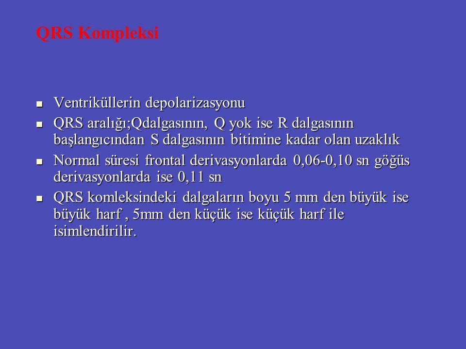 QRS Kompleksi Ventriküllerin depolarizasyonu Ventriküllerin depolarizasyonu QRS aralığı;Qdalgasının, Q yok ise R dalgasının başlangıcından S dalgasını