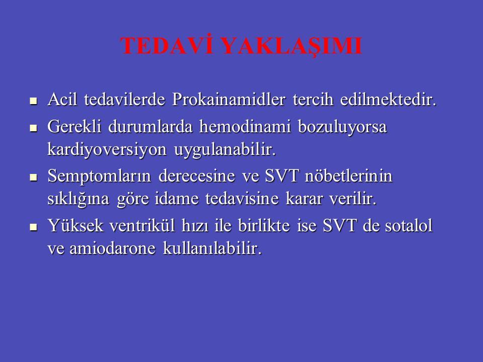 TEDAVİ YAKLAŞIMI Acil tedavilerde Prokainamidler tercih edilmektedir. Acil tedavilerde Prokainamidler tercih edilmektedir. Gerekli durumlarda hemodina