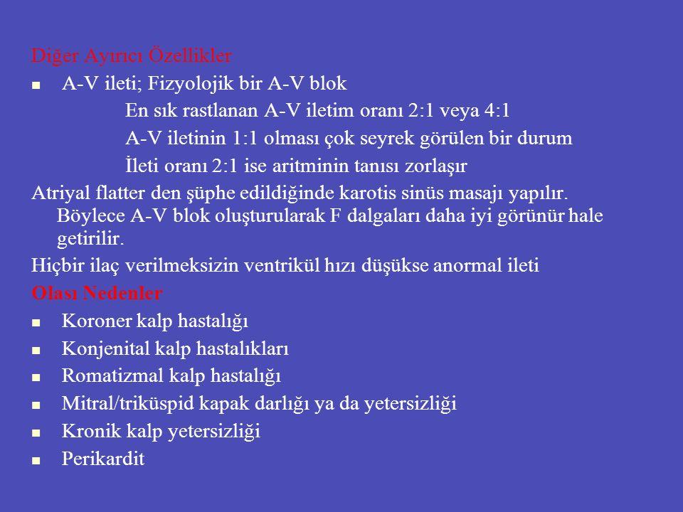 Diğer Ayırıcı Özellikler A-V ileti; Fizyolojik bir A-V blok En sık rastlanan A-V iletim oranı 2:1 veya 4:1 A-V iletinin 1:1 olması çok seyrek görülen