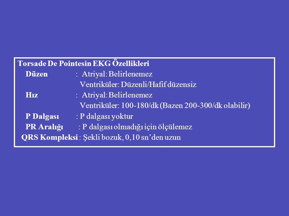 Torsade De Pointesin EKG Özellikleri Düzen : Atriyal: Belirlenemez Ventriküler: Düzenli/Hafif düzensiz Hız : Atriyal: Belirlenemez Ventriküler: 100-18
