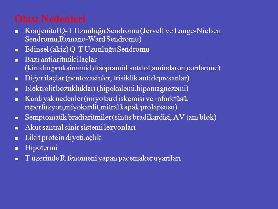 Olası Nedenleri Konjenital Q-T Uzunluğu Sendromu (Jervell ve Lange-Nielsen Sendromu,Romano-Ward Sendromu) Edinsel (akiz) Q-T Uzunluğu Sendromu Bazı an