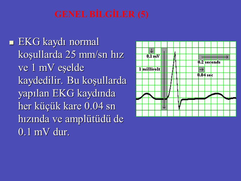 EKG kaydı normal koşullarda 25 mm/sn hız ve 1 mV eşelde kaydedilir. Bu koşullarda yapılan EKG kaydında her küçük kare 0.04 sn hızında ve amplütüdü de