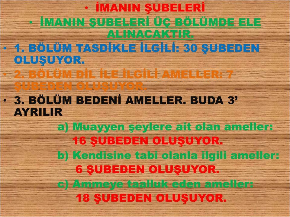 İMANIN ŞUBELERİ İMANIN ŞUBELERİ ÜÇ BÖLÜMDE ELE ALINACAKTIR.