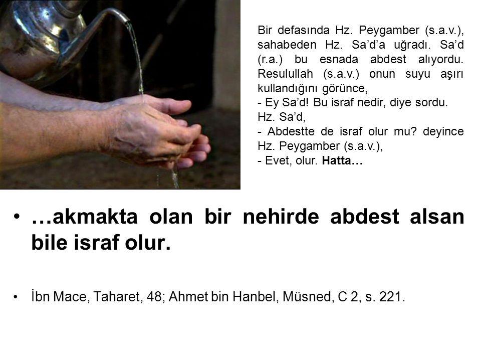 …akmakta olan bir nehirde abdest alsan bile israf olur. İbn Mace, Taharet, 48; Ahmet bin Hanbel, Müsned, C 2, s. 221. Bir defasında Hz. Peygamber (s.a