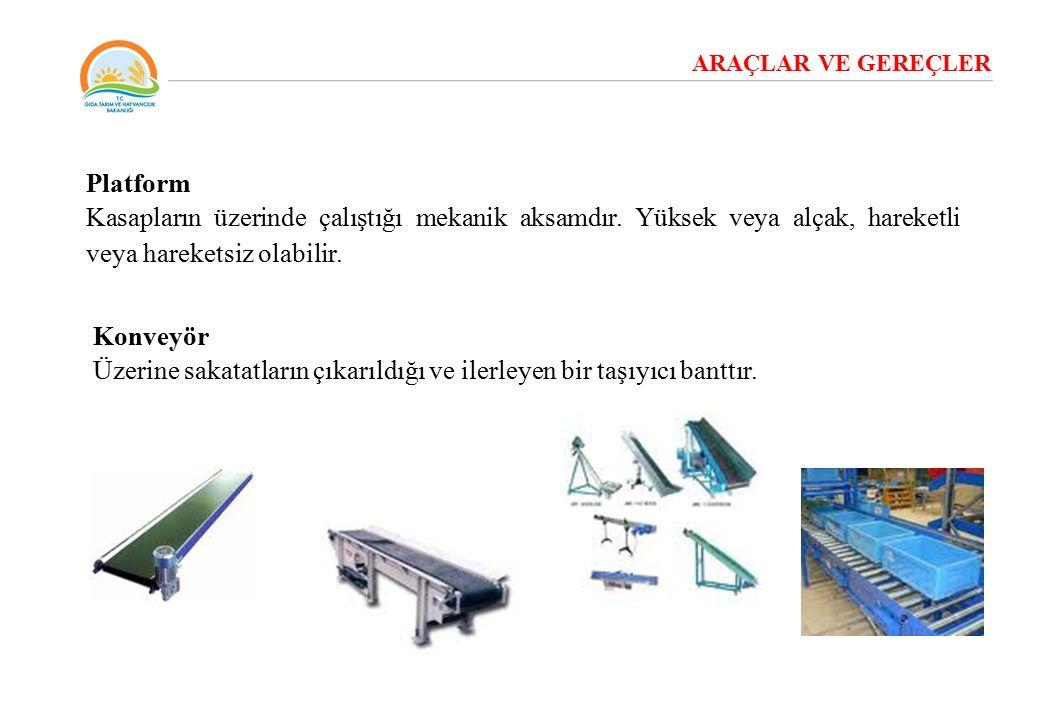 ARAÇLAR VE GEREÇLER Platform Kasapların üzerinde çalıştığı mekanik aksamdır. Yüksek veya alçak, hareketli veya hareketsiz olabilir. Konveyör Üzerine s