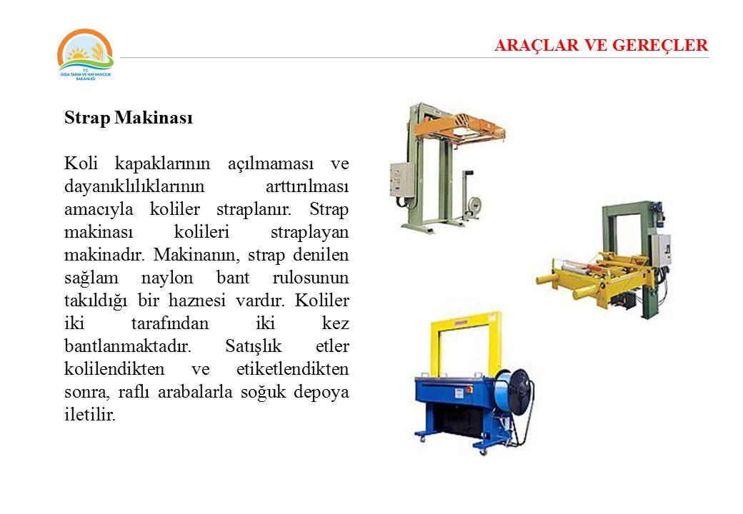ARAÇLAR VE GEREÇLER Strap Makinası Koli kapaklarının açılmaması ve dayanıklılıklarının arttırılması amacıyla koliler straplanır. Strap makinası kolile