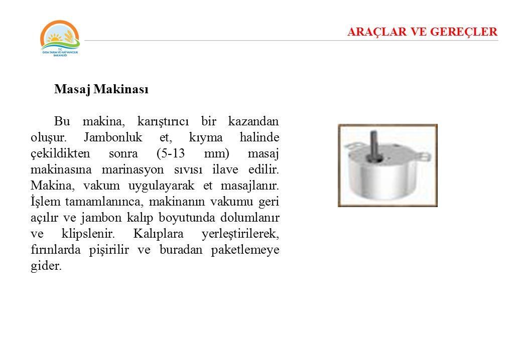ARAÇLAR VE GEREÇLER Masaj Makinası Bu makina, karıştırıcı bir kazandan oluşur. Jambonluk et, kıyma halinde çekildikten sonra (5-13 mm) masaj makinasın