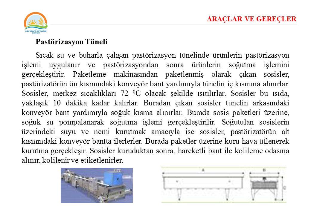 ARAÇLAR VE GEREÇLER Pastörizasyon Tüneli Sıcak su ve buharla çalışan pastörizasyon tünelinde ürünlerin pastörizasyon işlemi uygulanır ve pastörizasyon