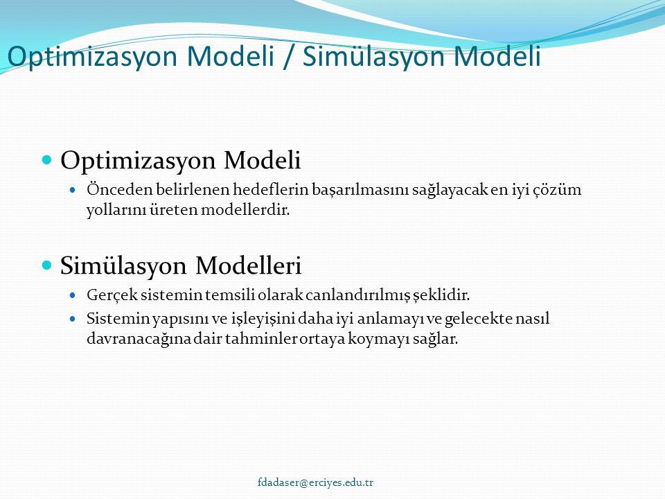 Optimizasyon Modeli / Simülasyon Modeli Optimizasyon Modeli Önceden belirlenen hedeflerin başarılmasını sağlayacak en iyi çözüm yollarını üreten modellerdir.