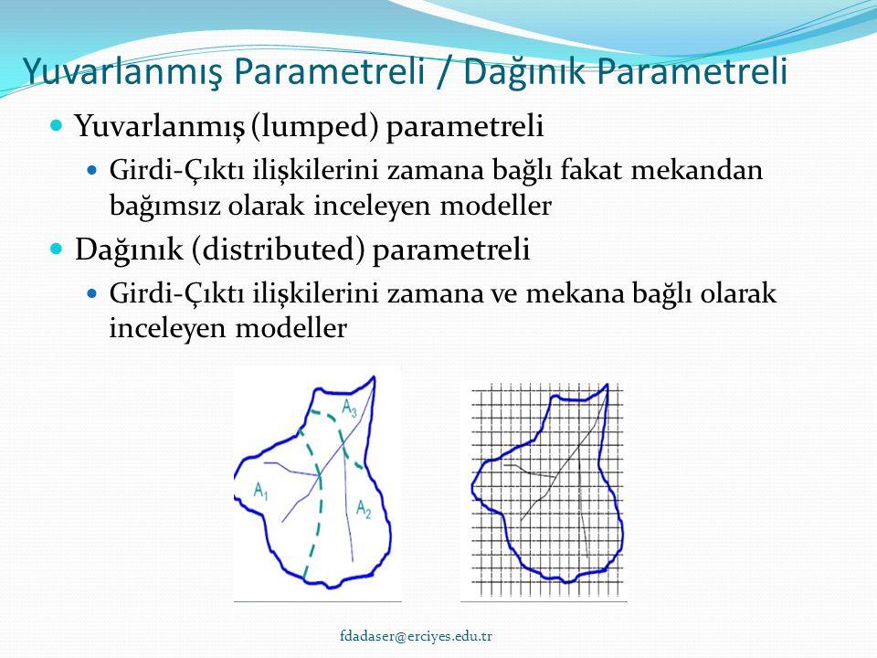 Yuvarlanmış Parametreli / Dağınık Parametreli Yuvarlanmış (lumped) parametreli Girdi-Çıktı ilişkilerini zamana bağlı fakat mekandan bağımsız olarak inceleyen modeller Dağınık (distributed) parametreli Girdi-Çıktı ilişkilerini zamana ve mekana bağlı olarak inceleyen modeller fdadaser@erciyes.edu.tr