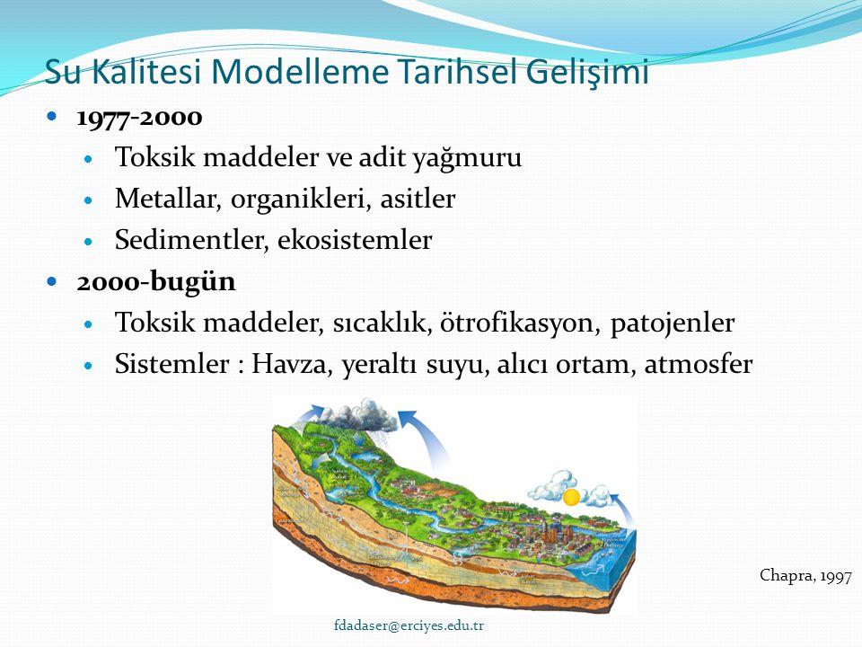 Su Kalitesi Modelleme Tarihsel Gelişimi 1977-2000 Toksik maddeler ve adit yağmuru Metallar, organikleri, asitler Sedimentler, ekosistemler 2000-bugün Toksik maddeler, sıcaklık, ötrofikasyon, patojenler Sistemler : Havza, yeraltı suyu, alıcı ortam, atmosfer Chapra, 1997 fdadaser@erciyes.edu.tr