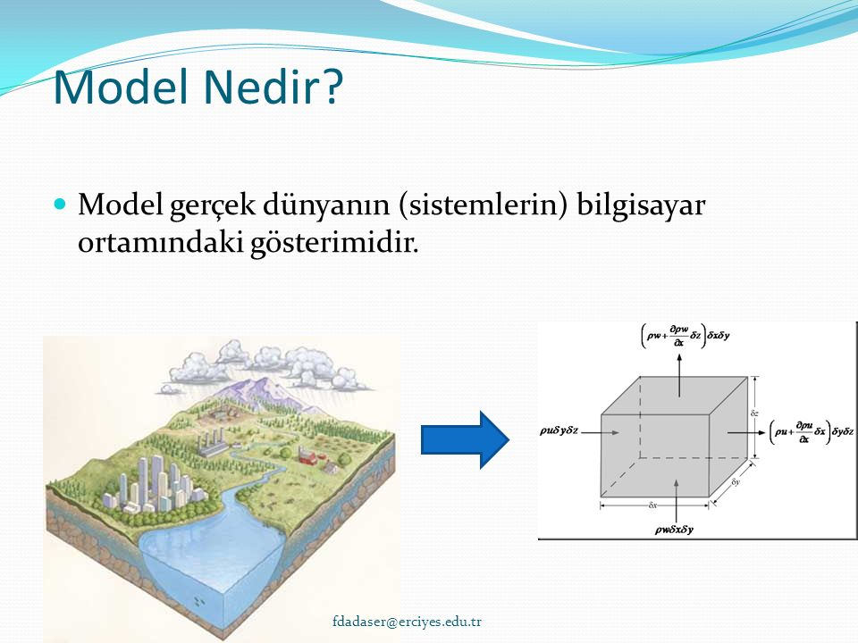 Model Kalibrasyonu ve Doğrulaması Kalibrasyon – parametre değerleri (literatürden elde edilmiş) belirli bir aralıkta değiştirilerek model sonuçları ve gerçek ölçüm değerleri arasında istatistiksel olarak kabul edilebilir bir karşılaştırma yapılması Doğrulama – model parametreleri sabit tutularak model sonuçlarının bağımsız ikinci bir set veri ile karşılaştırılması fdadaser@erciyes.edu.tr