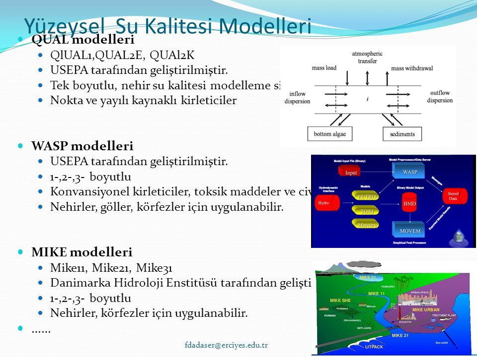 Yüzeysel Su Kalitesi Modelleri QUAL modelleri QlUAL1,QUAL2E, QUAl2K USEPA tarafından geliştirilmiştir. Tek boyutlu, nehir su kalitesi modelleme sistem