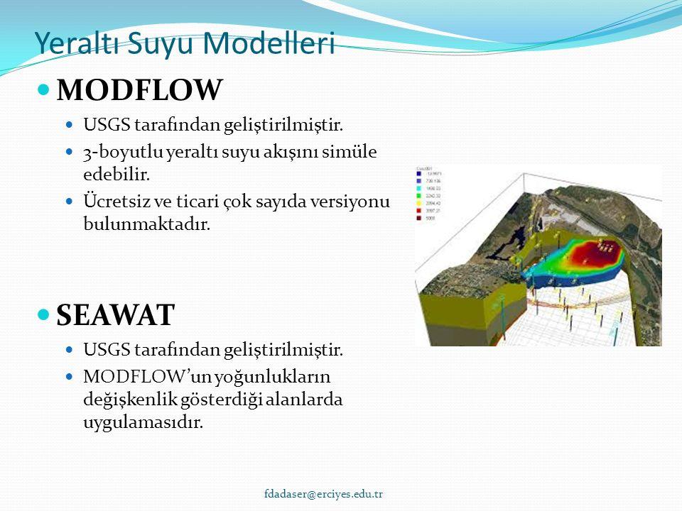 Yeraltı Suyu Modelleri MODFLOW USGS tarafından geliştirilmiştir.