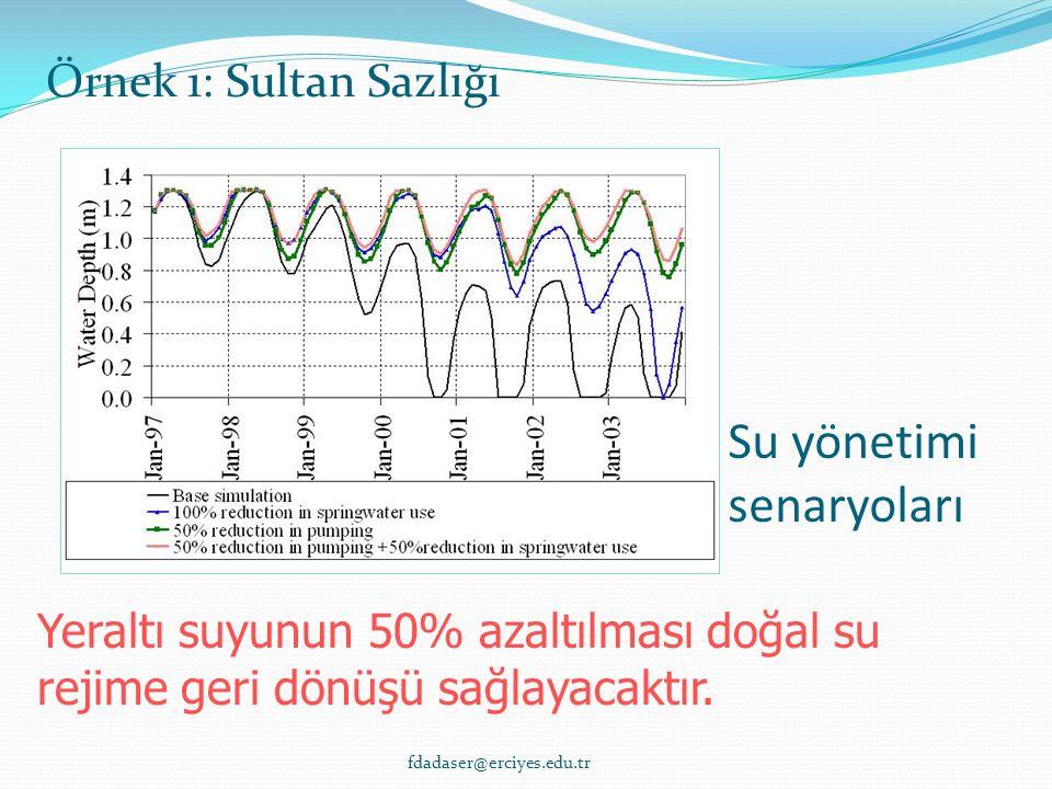 Su yönetimi senaryoları Yeraltı suyunun 50% azaltılması doğal su rejime geri dönüşü sağlayacaktır.