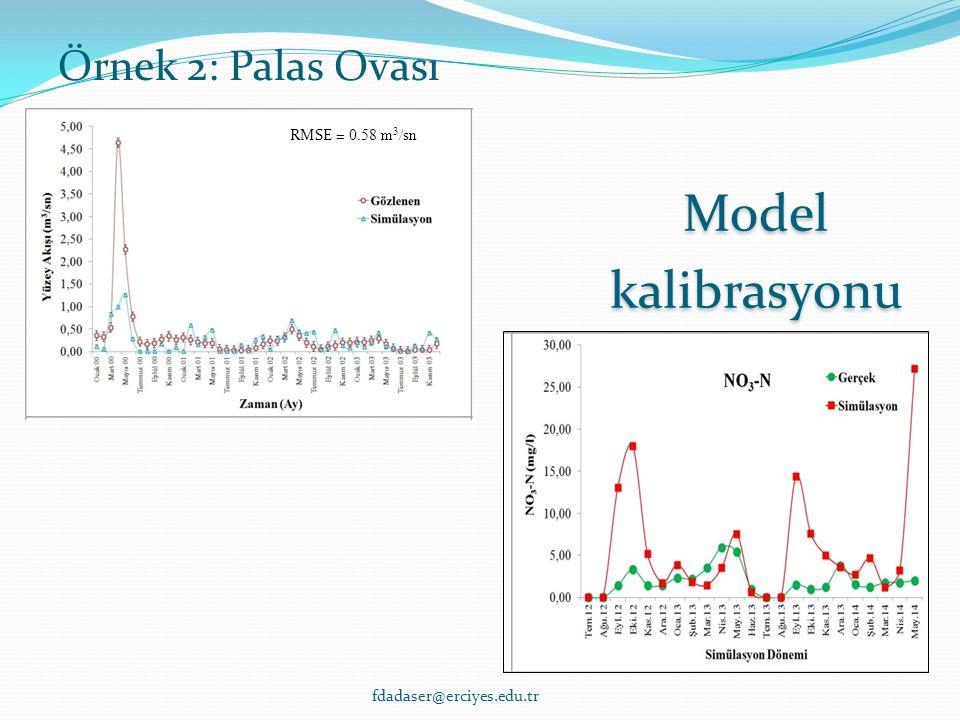 Model kalibrasyonu RMSE = 0.58 m 3 /sn Örnek 2: Palas Ovası fdadaser@erciyes.edu.tr