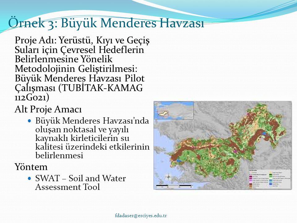 Proje Adı: Yerüstü, Kıyı ve Geçiş Suları için Çevresel Hedeflerin Belirlenmesine Yönelik Metodolojinin Geliştirilmesi: Büyük Menderes Havzası Pilot Çalışması (TUBİTAK-KAMAG 112G021) Alt Proje Amacı Büyük Menderes Havzası'nda oluşan noktasal ve yayılı kaynaklı kirleticilerin su kalitesi üzerindeki etkilerinin belirlenmesi Yöntem SWAT – Soil and Water Assessment Tool Örnek 3: Büyük Menderes Havzası fdadaser@erciyes.edu.tr