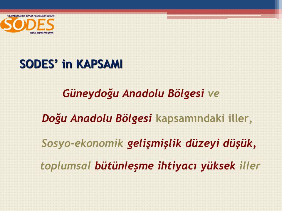 SODES' in KAPSAMI Güneydoğu Anadolu Bölgesi ve Doğu Anadolu Bölgesi kapsamındaki iller, Sosyo-ekonomik gelişmişlik düzeyi düşük, toplumsal bütünleşme ihtiyacı yüksek iller