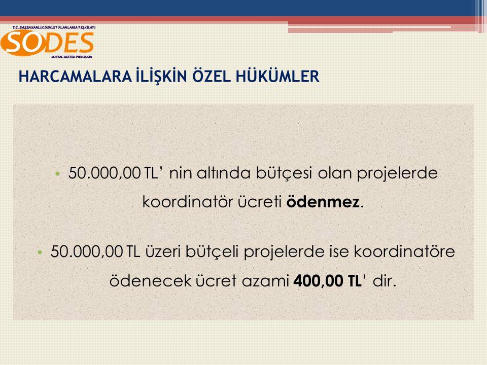 50.000,00 TL' nin altında bütçesi olan projelerde koordinatör ücreti ödenmez.