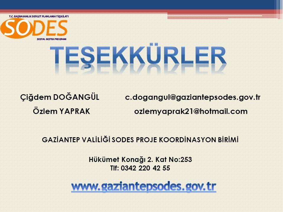 Çiğdem DOĞANGÜL c.dogangul@gaziantepsodes.gov.tr Özlem YAPRAK ozlemyaprak21@hotmail.com GAZİANTEP VALİLİĞİ SODES PROJE KOORDİNASYON BİRİMİ Hükümet Konağı 2.