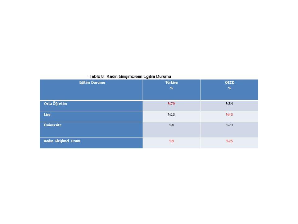 Eğitim Durumu Türkiye % OECD % Orta Öğretim%79%34 Lise%13%43 Üniversite%8%23 Kadın Girişimci Oranı%9%25 Tablo 8: Kadın Girişimcilerin Eğitim Durumu