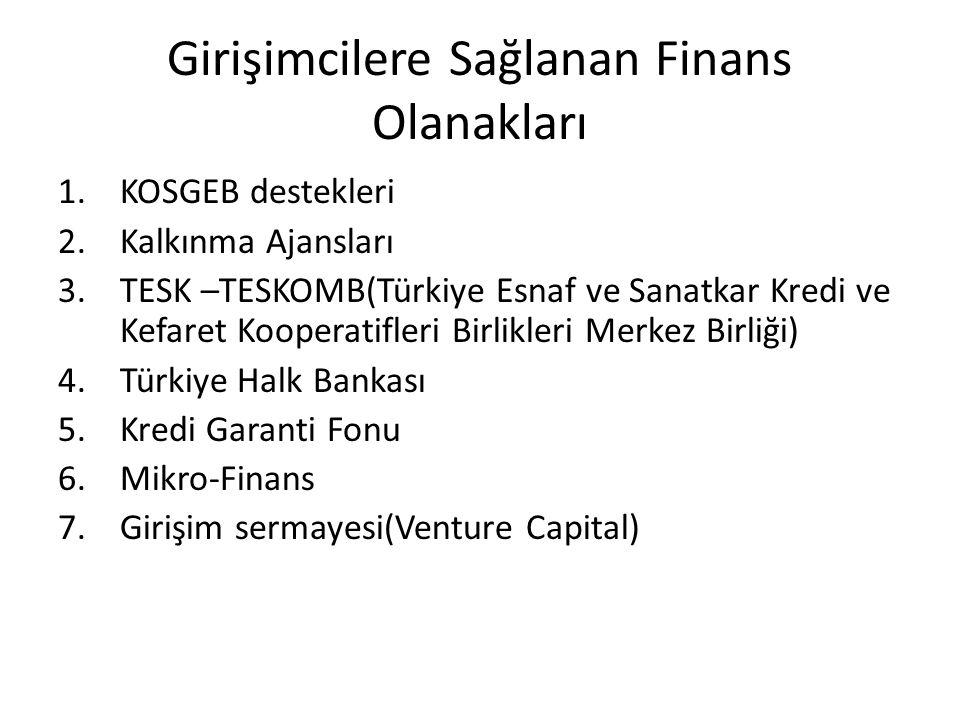 Girişimcilere Sağlanan Finans Olanakları 1.KOSGEB destekleri 2.Kalkınma Ajansları 3.TESK –TESKOMB(Türkiye Esnaf ve Sanatkar Kredi ve Kefaret Kooperati