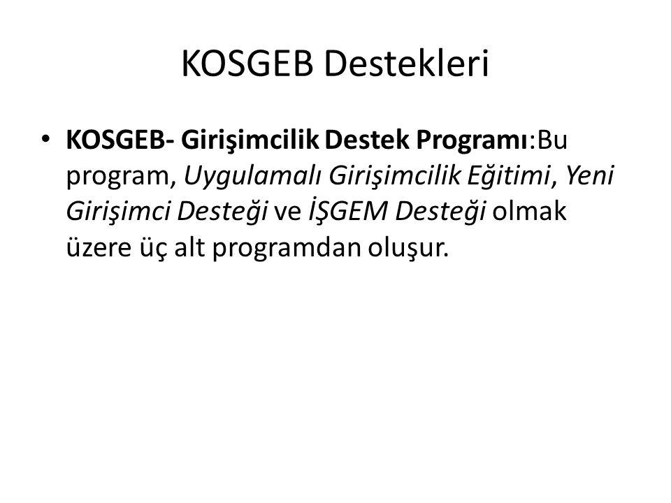 KOSGEB Destekleri KOSGEB- Girişimcilik Destek Programı:Bu program, Uygulamalı Girişimcilik Eğitimi, Yeni Girişimci Desteği ve İŞGEM Desteği olmak üzere üç alt programdan oluşur.