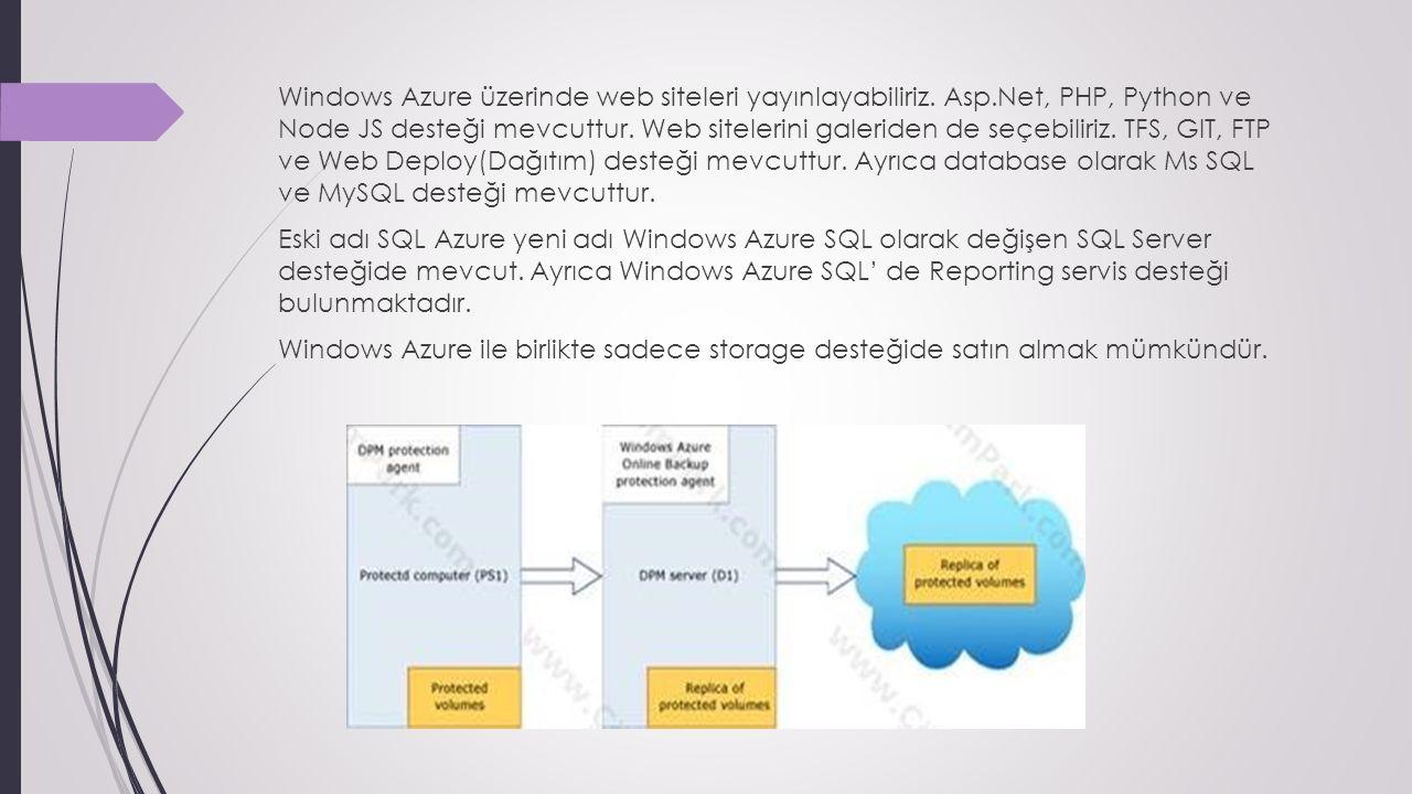 Windows Azure üzerinde web siteleri yayınlayabiliriz.