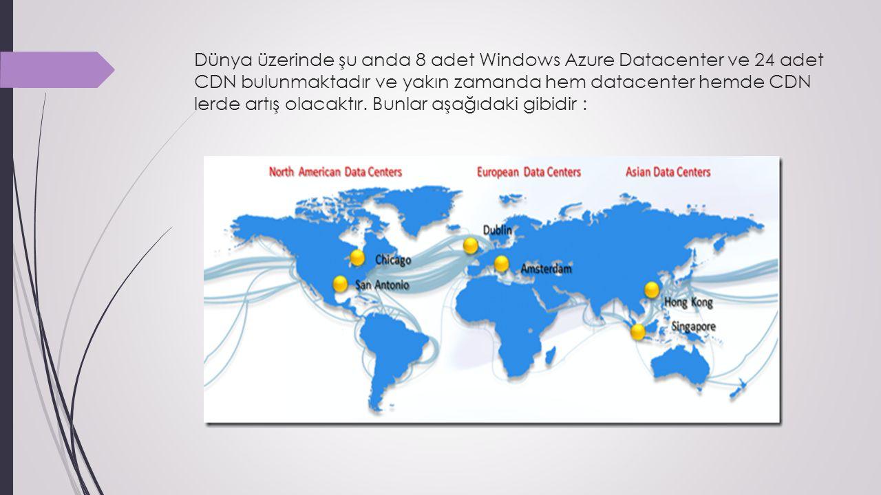 Dünya üzerinde şu anda 8 adet Windows Azure Datacenter ve 24 adet CDN bulunmaktadır ve yakın zamanda hem datacenter hemde CDN lerde artış olacaktır.