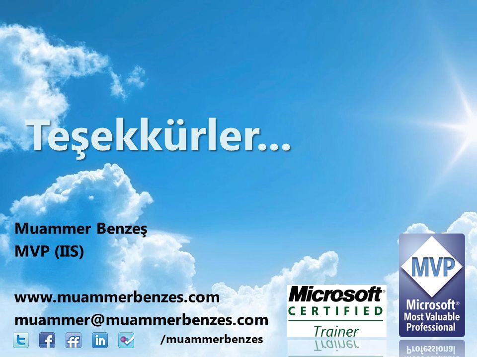 Muammer Benzeş MVP (IIS) www.muammerbenzes.com muammer@muammerbenzes.com Teşekkürler...