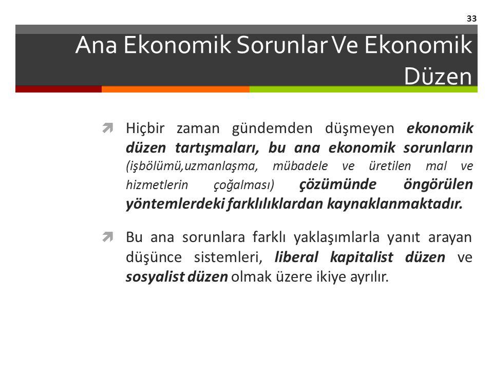 Ana Ekonomik Sorunlar Ve Ekonomik Düzen  Hiçbir zaman gündemden düşmeyen ekonomik düzen tartışmaları, bu ana ekonomik sorunların (işbölümü,uzmanlaşma
