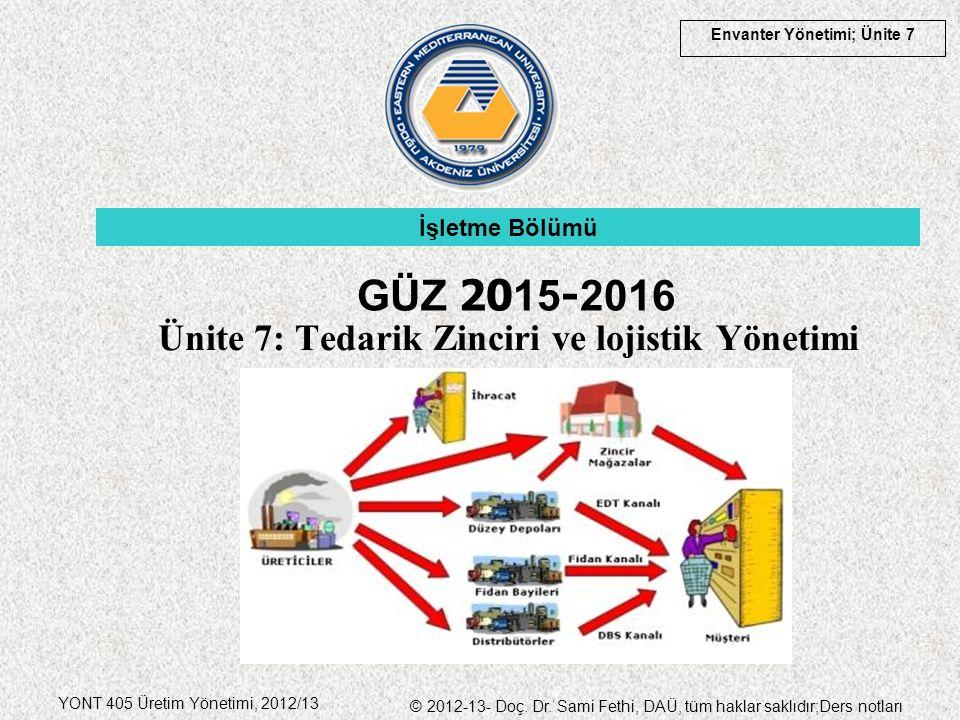 Envanter Yönetimi; Ünite 7 YONT 405 Üretim Yönetimi, 2012/13 © 2012-13- Doç. Dr. Sami Fethi, DAÜ, tüm haklar saklıdır;Ders notları Ünite 7: Tedarik Zi