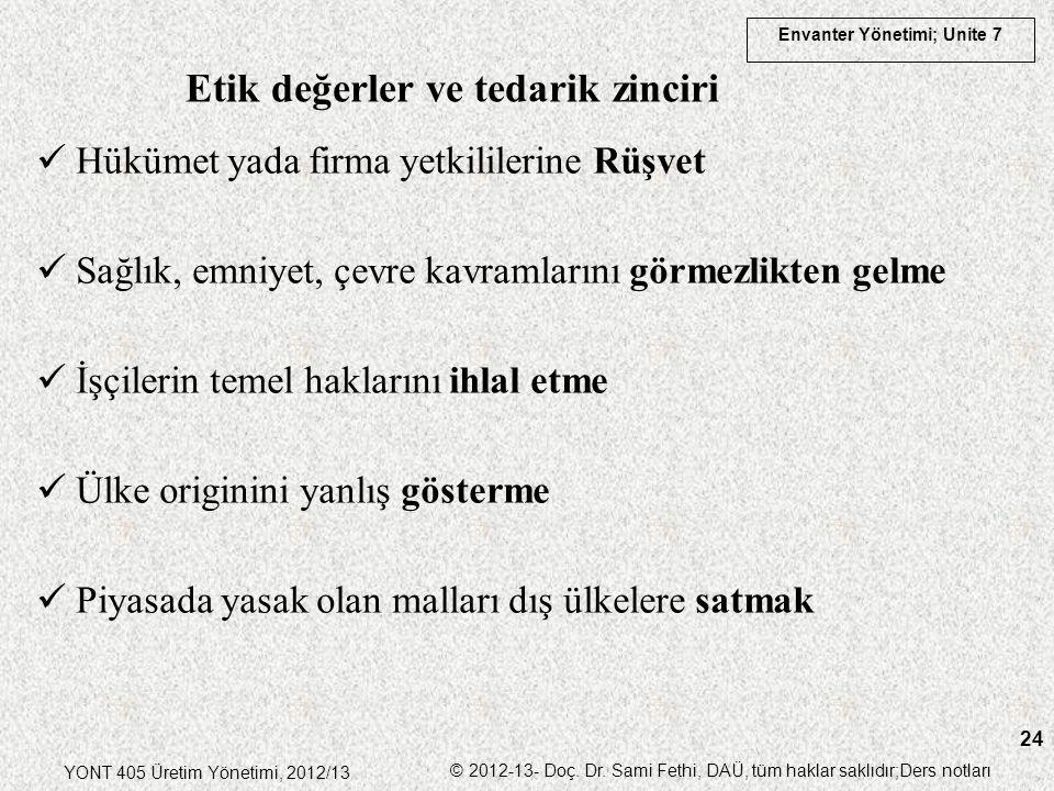 Envanter Yönetimi; Unite 7 YONT 405 Üretim Yönetimi, 2012/13 © 2012-13- Doç. Dr. Sami Fethi, DAÜ, tüm haklar saklıdır;Ders notları 24 Hükümet yada fir