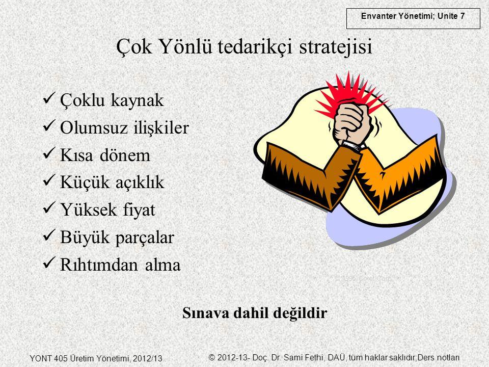 Envanter Yönetimi; Unite 7 YONT 405 Üretim Yönetimi, 2012/13 © 2012-13- Doç. Dr. Sami Fethi, DAÜ, tüm haklar saklıdır;Ders notları Çoklu kaynak Olumsu