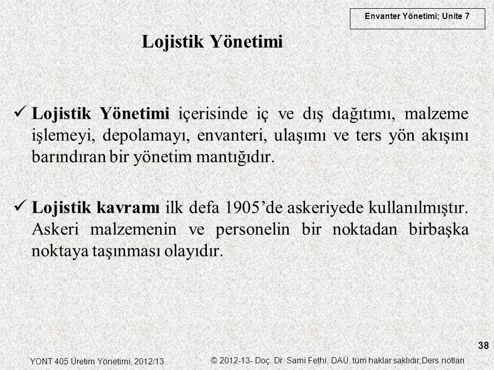 Envanter Yönetimi; Unite 7 YONT 405 Üretim Yönetimi, 2012/13 © 2012-13- Doç. Dr. Sami Fethi, DAÜ, tüm haklar saklıdır;Ders notları 38 Lojistik Yönetim