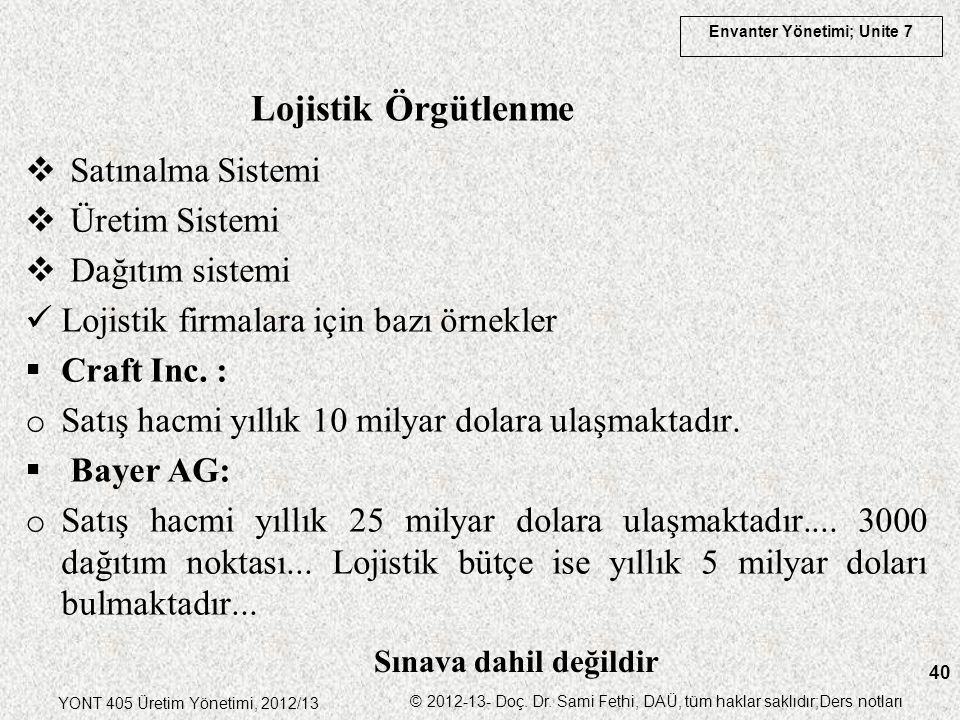 Envanter Yönetimi; Unite 7 YONT 405 Üretim Yönetimi, 2012/13 © 2012-13- Doç. Dr. Sami Fethi, DAÜ, tüm haklar saklıdır;Ders notları 40  Satınalma Sist