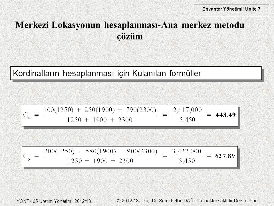 Envanter Yönetimi; Unite 7 YONT 405 Üretim Yönetimi, 2012/13 © 2012-13- Doç. Dr. Sami Fethi, DAÜ, tüm haklar saklıdır;Ders notları Kordinatların hesap