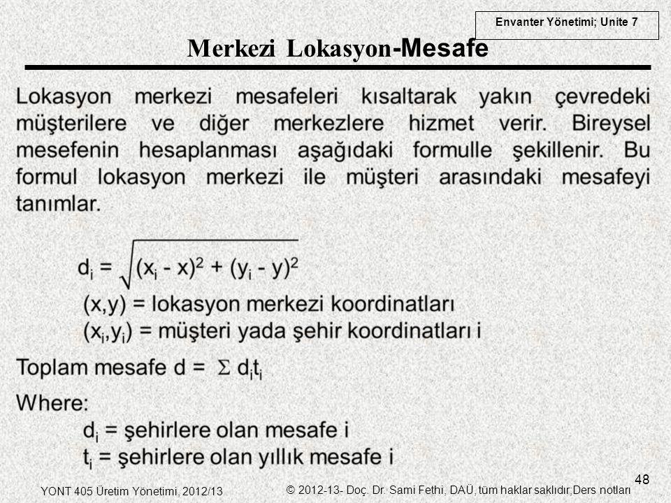 Envanter Yönetimi; Unite 7 YONT 405 Üretim Yönetimi, 2012/13 © 2012-13- Doç. Dr. Sami Fethi, DAÜ, tüm haklar saklıdır;Ders notları 48 Merkezi Lokasyon