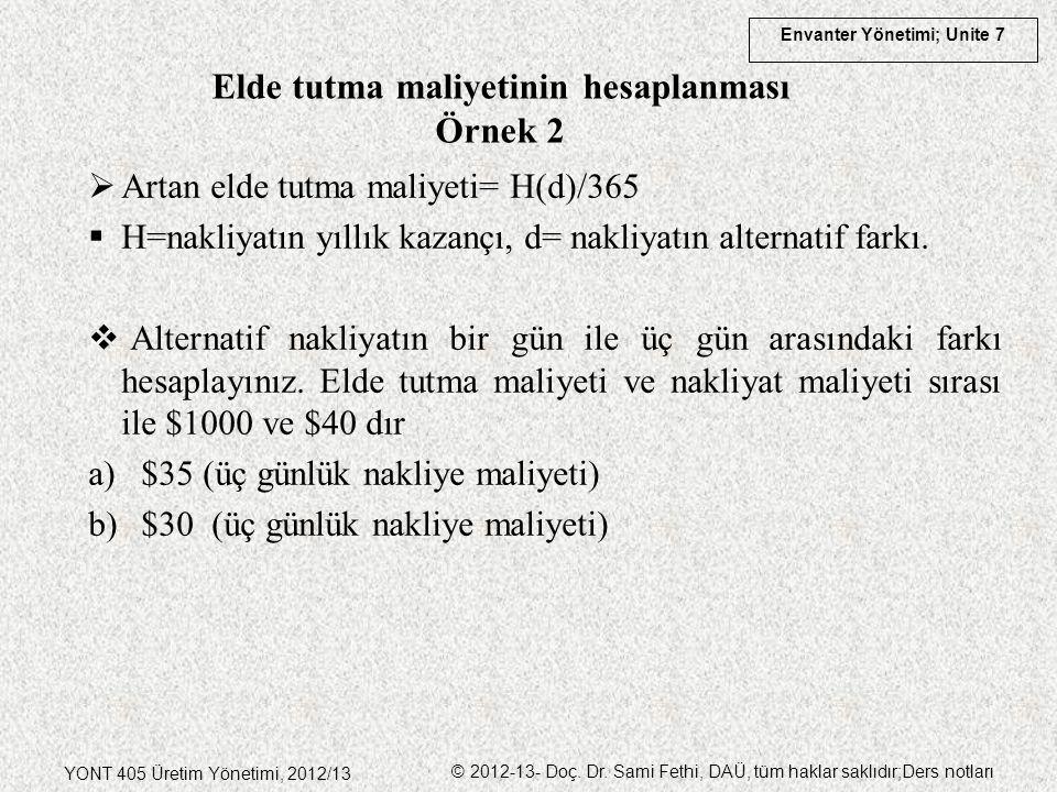 Envanter Yönetimi; Unite 7 YONT 405 Üretim Yönetimi, 2012/13 © 2012-13- Doç. Dr. Sami Fethi, DAÜ, tüm haklar saklıdır;Ders notları  Artan elde tutma