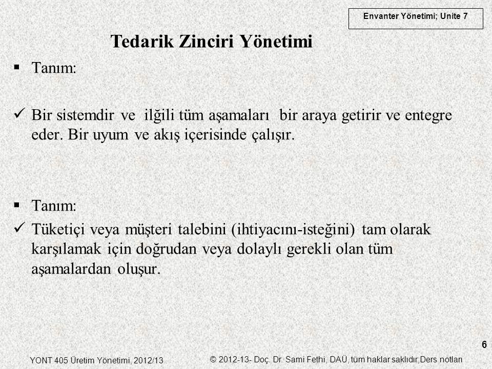 Envanter Yönetimi; Unite 7 YONT 405 Üretim Yönetimi, 2012/13 © 2012-13- Doç. Dr. Sami Fethi, DAÜ, tüm haklar saklıdır;Ders notları 6  Tanım: Bir sist
