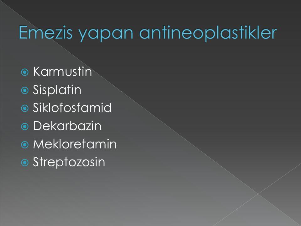  Karmustin  Sisplatin  Siklofosfamid  Dekarbazin  Mekloretamin  Streptozosin