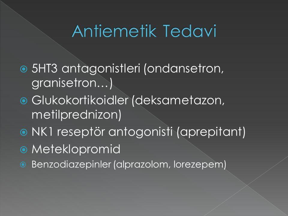  5HT3 antagonistleri (ondansetron, granisetron…)  Glukokortikoidler (deksametazon, metilprednizon)  NK1 reseptör antogonisti (aprepitant)  Meteklopromid  Benzodiazepinler (alprazolom, lorezepem)