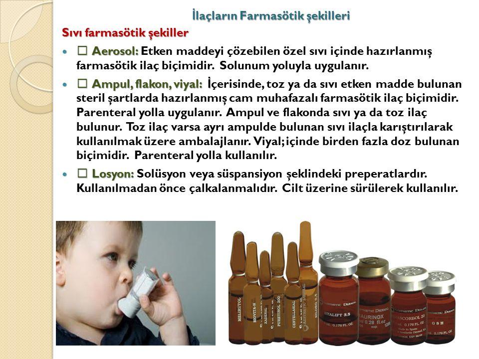 İ laçların Farmasötik şekilleri Sıvı farmasötik şekiller  Aerosol:  Aerosol: Etken maddeyi çözebilen özel sıvı içinde hazırlanmış farmasötik ilaç biçimidir.
