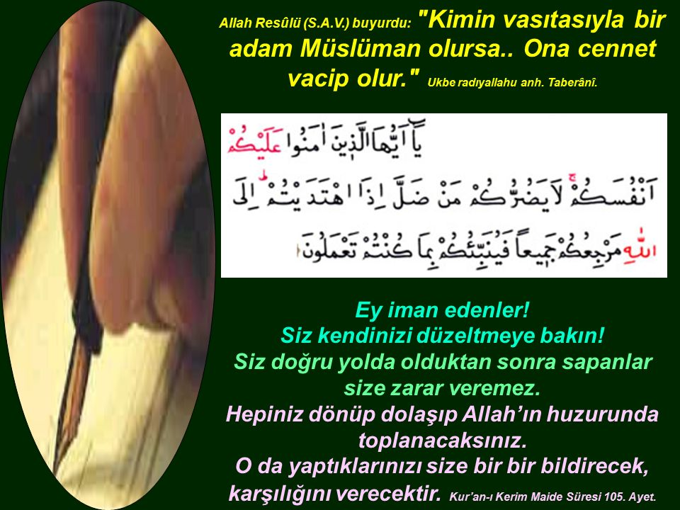 Allah Resûlü (S.A.V.) buyurdu: Kimin vasıtasıyla bir adam Müslüman olursa..