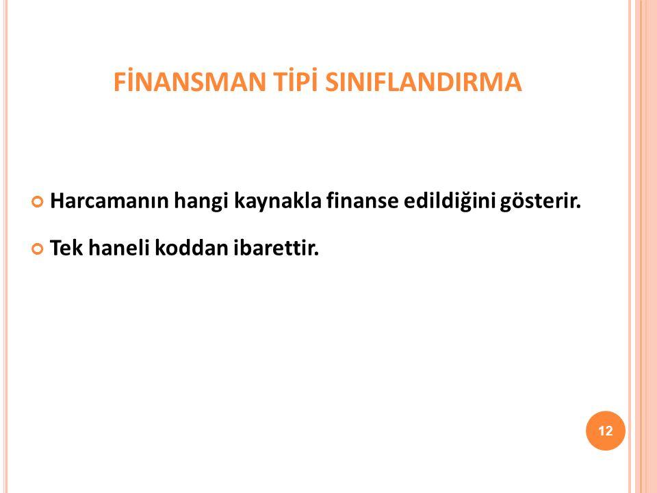 FİNANSMAN TİPİ SINIFLANDIRMA Harcamanın hangi kaynakla finanse edildiğini gösterir.