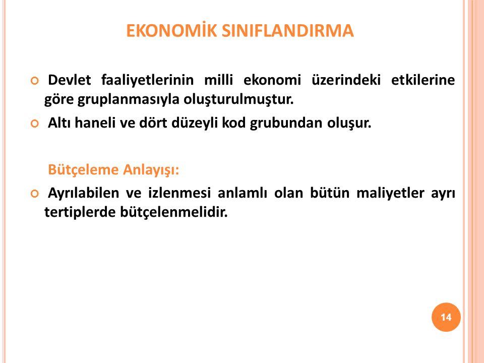 EKONOMİK SINIFLANDIRMA Devlet faaliyetlerinin milli ekonomi üzerindeki etkilerine göre gruplanmasıyla oluşturulmuştur.