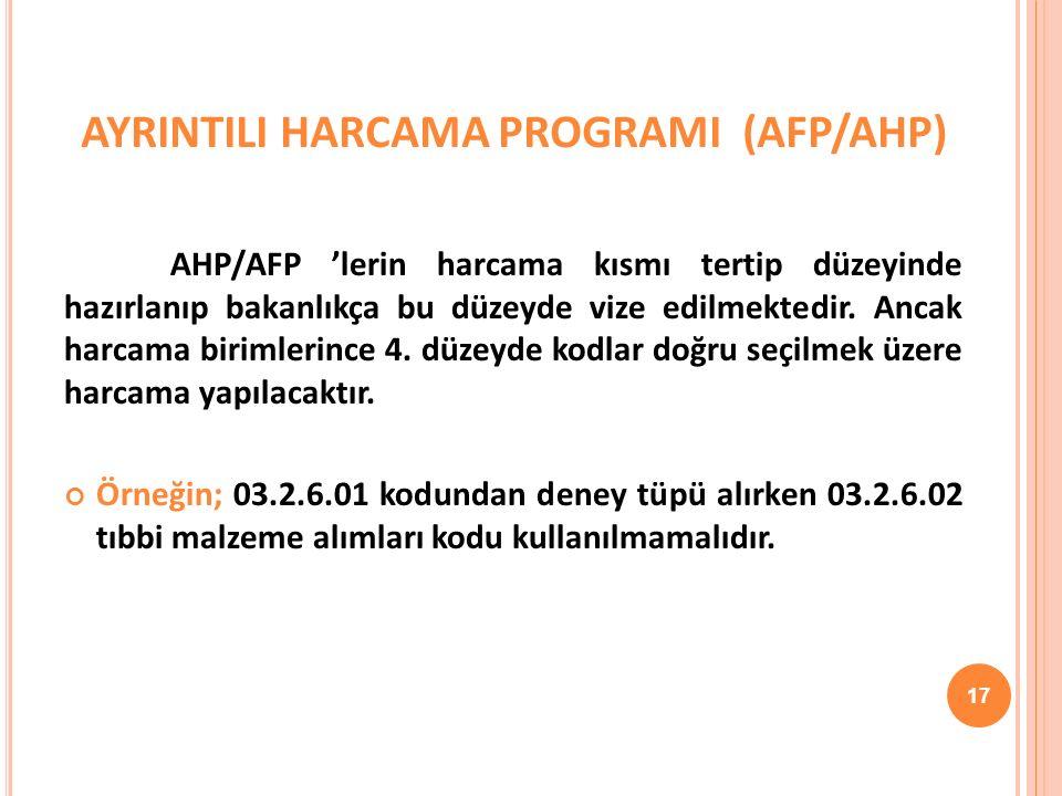AYRINTILI HARCAMA PROGRAMI (AFP/AHP) AHP/AFP 'lerin harcama kısmı tertip düzeyinde hazırlanıp bakanlıkça bu düzeyde vize edilmektedir.