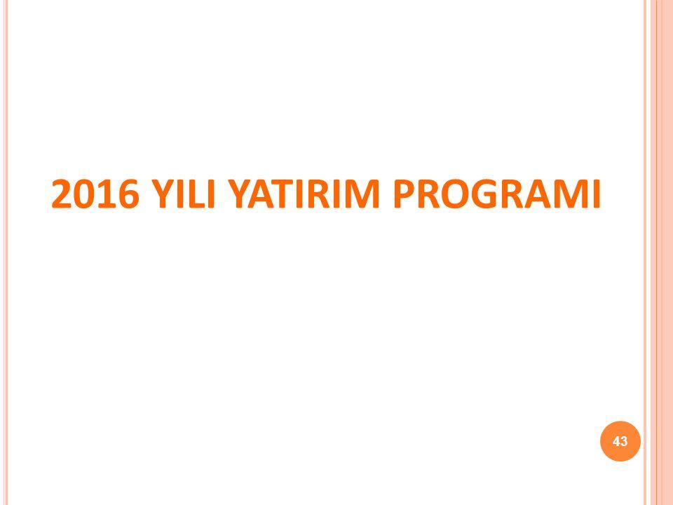 2016 YILI YATIRIM PROGRAMI 43