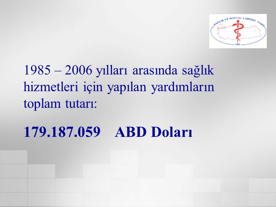 1985 – 2006 yılları arasında sağlık hizmetleri için yapılan yardımların toplam tutarı: 179.187.059 ABD Doları